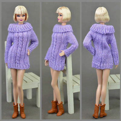Dolls Accessories Knitted Purple Sweater Top Dress Clothes For Barbie Doll