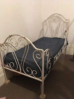 Exquisite French Victorian Metal Single Bed or Day Bed with Base