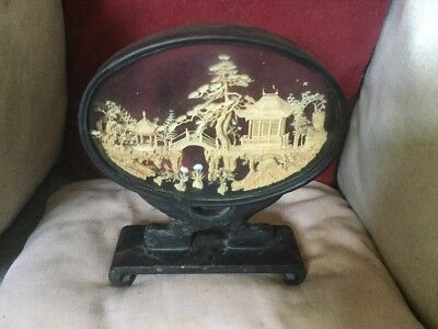 Old Chinese Cork Diorama On Ornate Black Base With Padodas,Bridge,Herons & Trees