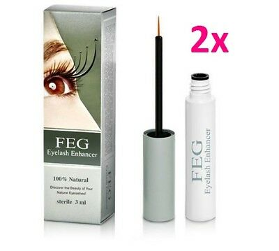 2 x FEG Eyelashes Enhancer 3ml Wimpernserum Wimpernwachstum Original New