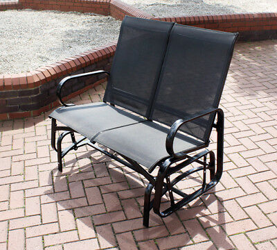 Kingfisher 2 Seater Glider Rocking Bench With Mesh Seat for Garden Patio- Grey