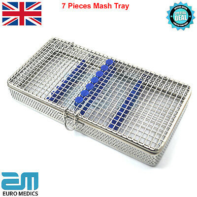 Perforated Mesh Tray 7 Pieces Sterilisation Rack Cassette Dentist Surgical Tools