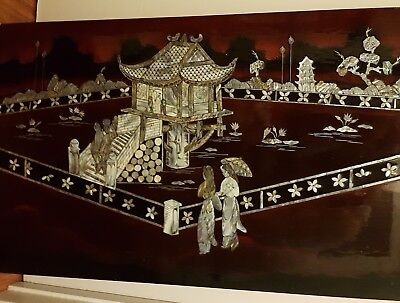 vintage mother of pearl oriental picture