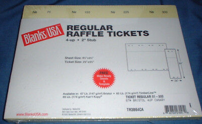Blanks USA 300 Raffle Tickets Numbered Canary New