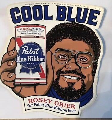 Vintage Unused Pabst Blue Ribbon Cool Blue Rosey Grier Decal! Pbr Sticker P-1123
