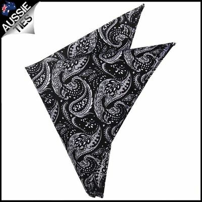 Black with White Floral Paisley Pocket Square  Handkerchief