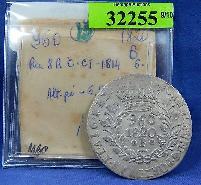 1820 B 960 Reis Brazil Crown Overstrike On 1814 8 Reales Silver Study Coin O/s