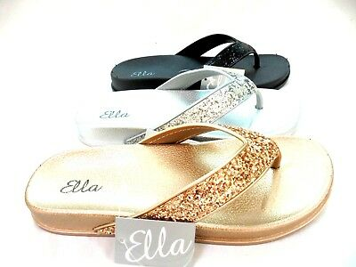 Ladies Womens New Ella Toe Post Sandals Glitter Sparkly Flip Flops Size 3 - 8