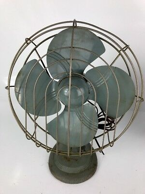 Vintage Dominion Model 2012 Electric Fan Art Deco Cast Iron Tear Drop 1950's