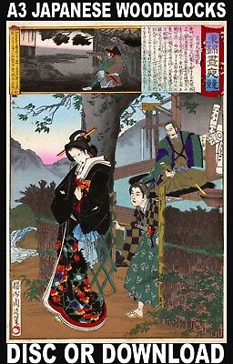 Print/Sell EXTRA LARGE Japanese Woodblocks - Restored High Res. A3 Images ON USB