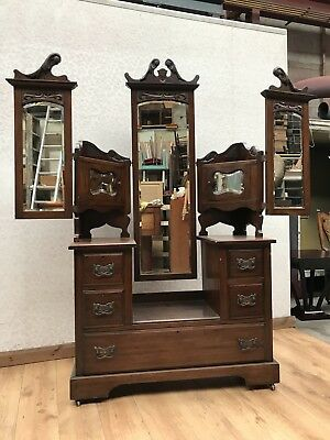 Victorian Carved Swing Mirror Dressing Table