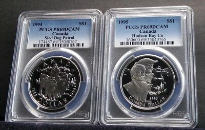 Canadian Sterling Silver Dollar Coins PCGS pr69dcam 1994 & 1995 two coin set