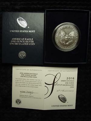 2016-W BURNISHED SILVER EAGLE, 30th Anniversary Edition With Box & COA