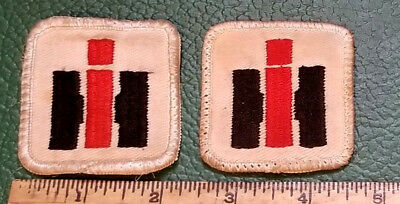 "2 Vtg International Harvester IH 2"" x 2"" Sew On Patches from Farm Hats Caps"