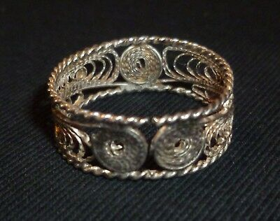 BYZANTINE Ancient Silver FILIGREE RING - Circa 1500-1600 AD                -6011