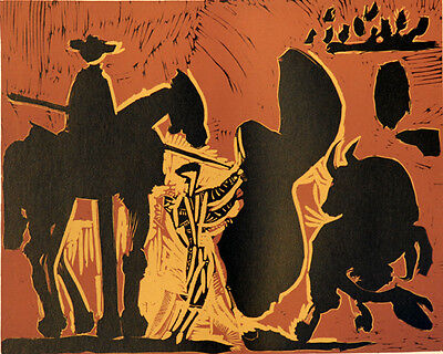 Pablo Picasso Bacchanals Linocut 1962 the Goading of the BULL GROßE