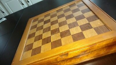 Wooden Inlay Chess Board, Checkers, Backgammon Dominos. Hand crafted, all pieces