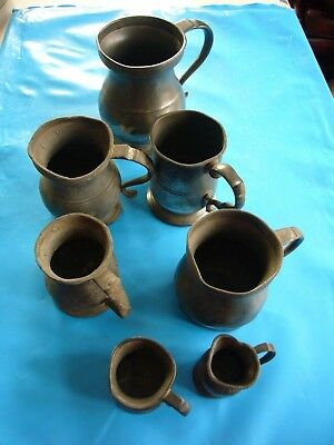 Job Lot of 7 Antique PEWTER TANKARDS - Assorted sizes inc. a 1/4 Gill measure