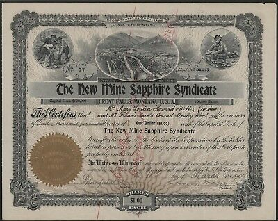 THE NEW MINE SAPPHIRE SYNDICATE STOCK CERTIFICATE Montana Yogo Gulch Mining Gems