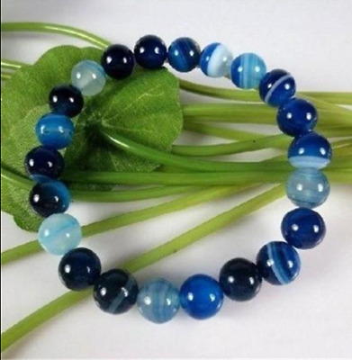 "10Mm Antique Art Deco Genuine Rare Blue Chalcedony Agate Beads Bracelet 7.5"" Aa"