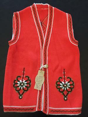 Vintage Polish Highlander Style Woman's Knit Vest Parzenica Never Worn with Tags