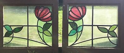 pair of victotorian stained glass panels