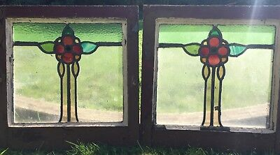 Pair antique stained glass Window Panel glass panes