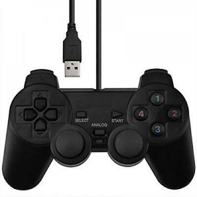 USB Wired Dual Shock Vibration Joystick PC Gaming Controller PS4 Gamepad Black