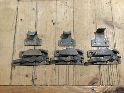 victorian / edwardian sash window catches and lifts x3