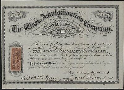 Rare Stock Certificate THE WURTZ AMALGAMATION COMPANY 1866 Gold & Silver Mining