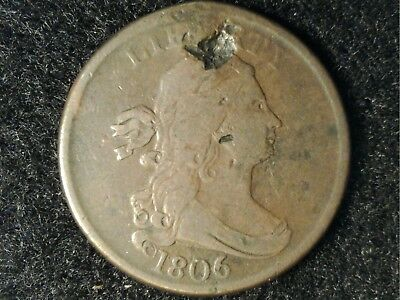Attractive 1806 US Half Cent but Significant Dmg - May be Holed & Plugged?