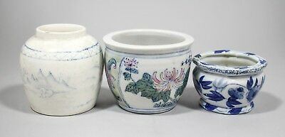 Antique set 3 Chinese ceramic vases ink pots floral Chinoiserie blue white