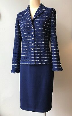 St. John Collection by Marie Gray Navy & White Striped Skirt suit pearl buttons