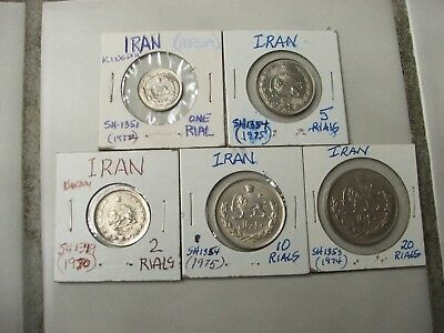 (5) Kingdom IRAN SH dated Coins.1,2,5,10,20 Rials / SH1351,1349,1254,1354,1374