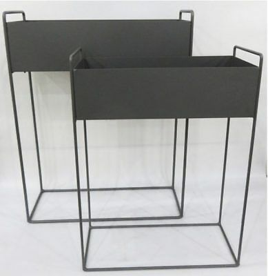 Set of 2 Industrial Rectangle Dark Grey Metal Plant Trough on Stand by Tobs