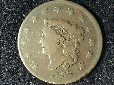 Attractive 1832 Coronet Large Cent in Low Grade - Nice Brown Appearance