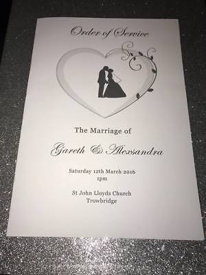 50 Personalised Wedding Order of Service / Order of Day