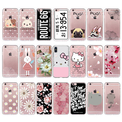 Lovely Cartoon Animal TPU Phone Case Cover Soft For Iphone 5 6 Plus 7 6s 8 X SE