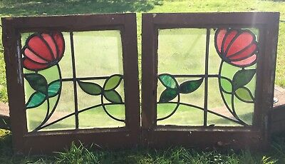 antique stained glass Window Panel glass panel measurement is approximately