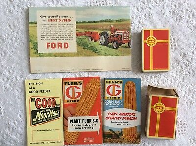 Vintage farm advertising lot Ford tractor, Massey Harris cards, Funks G Hybrid