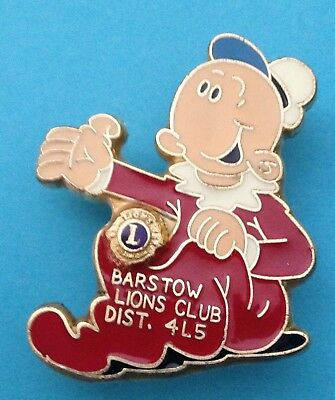 Sweet Pea Popeye's Adopted Baby Lions Club Gold Logo Barstow Dist. 4L5 Pin