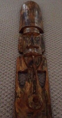 Authentic Fijian Wooden Hanging Mask Hand Carving Appx 90cmx13cm
