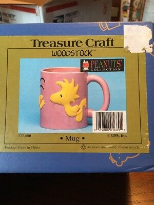 NEW NIB Woodstock Mug by Treasure Craft Peanuts Collection Snoopy Pink UFS, Inc