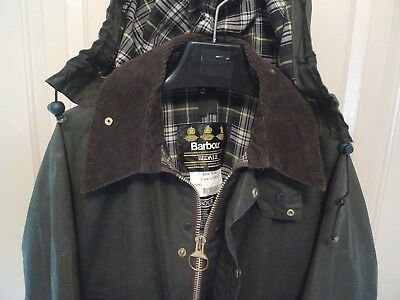Barbour-  A100 Bedale  Waxed Cotton Jacket & Hood-Sage-Made In England-Size 44
