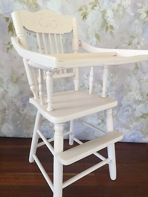 Vintage refurbished wooden children's high chair prop baby pink chalk painted