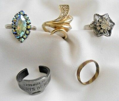 Lot of 5 Rings Vintage Antique Modern Cocktail Promise Band Mixed Metals Sizes