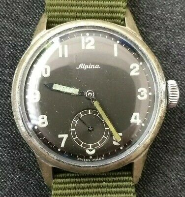 Alpina vintage military-style watch, black dial, sub seconds