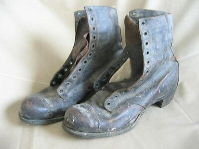 Original Antique Women's Lace Up Heeled Work Boots, Shoes Leather old Men's punk