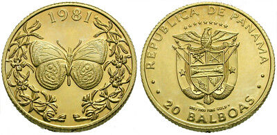 *CCC* Panama GOLD 20 Balboas / Butterfly