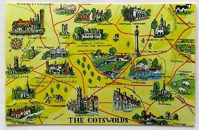 The Cotswolds Info Map Postcard (P285)